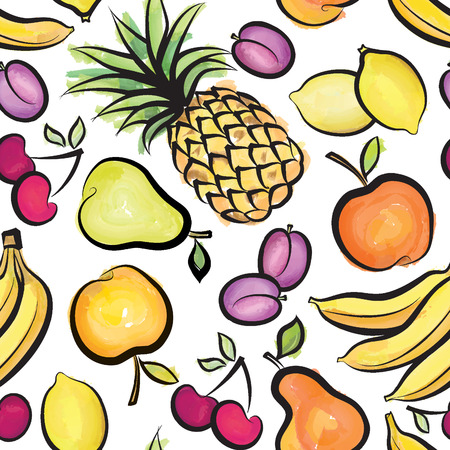 abstract food: Fruits pattern. Abstract watrcolor seamless background with fruit and berry. Healthy food texture.