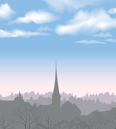 scape: City skyline. Buildings silhouette cityscape. Old city street in arly morning. European downtown. Urban landscape with trees. Illustration