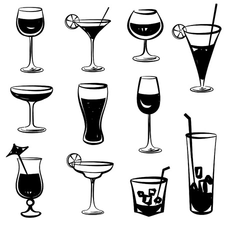 aperitif: Glass vector silhouette collection. Set of different cocktail drinks isolated on white background. Cocktail party icons
