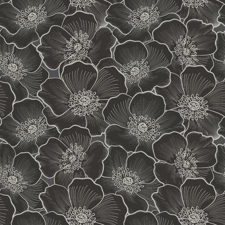 Floral seamless pattern. Blume Silhouette Hintergrund. Floral dekorativen nahtlose Textur mit Blumen.