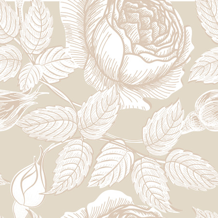 Floral seamless pattern. Flower background in retro style. Floral seamless texture with flowers roses.