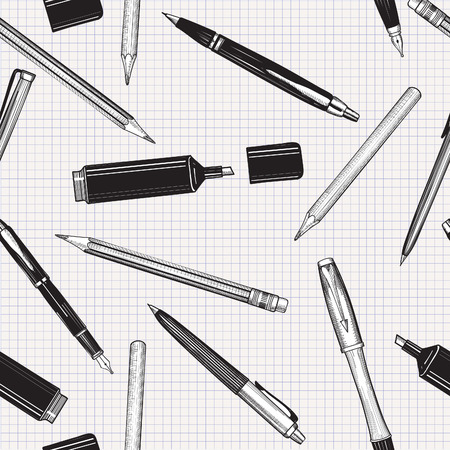 펜 원활한 패턴을 설정합니다. 손 벡터를 그려. 종이 타일 배경 위에 절연 연필, 펜과 마커의 컬렉션입니다. 일러스트