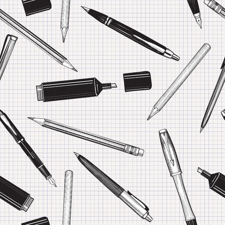 Pennenset naadloos patroon. Hand getrokken vector is. Potloden, pennen en markering collectie geïsoleerd op papier betegelde achtergrond. Stock Illustratie