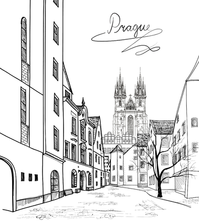 provincial tourist area: Old Town of Prague, Czech Republic. Pedestrian street in the old european city with tower on the background. Historic city street. Travel Prague bakcground.