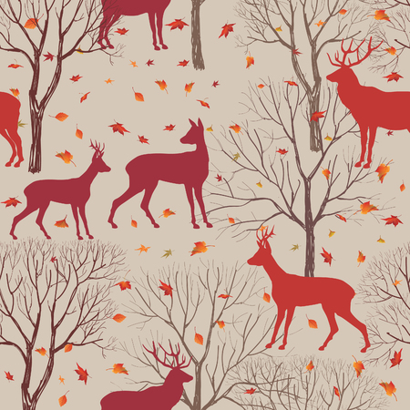 seamless floral: Animals in autumn forest pattern. Fall leaves and trees seamless background. Deer Vintage Christmas elements. Reindeer seamless pattern background. Editable vector texture. Illustration