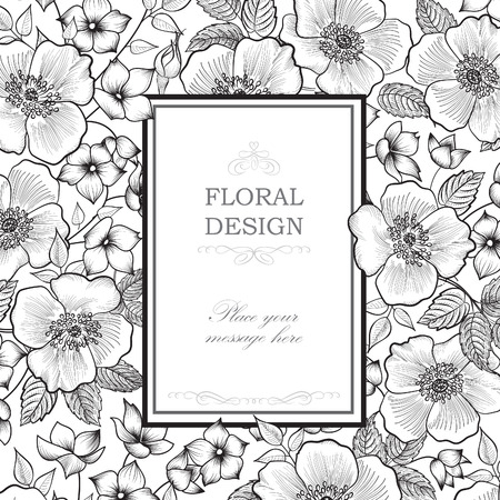 Floral frame background. Flower bouquet border. Floral vintage cover. Flourish card with copy space.
