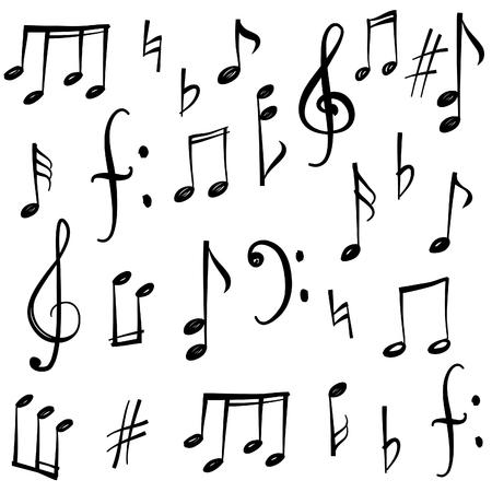 sonido: Notas de la música y signos establecidos. Mano de música dibujado colección boceto símbolo Vectores