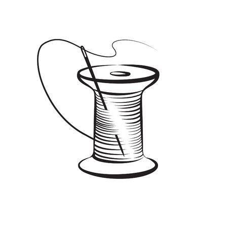 fancywork: Needle and thread symbol. Needlework icon. Fancywork label.