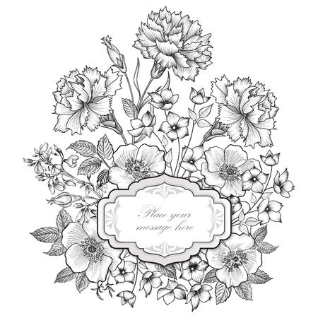 Floral frame background. Flower bouquet border. Floral vintage cover. Flourish card with copy space.