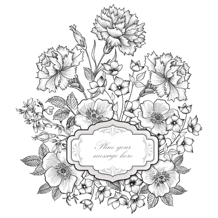 carnation: Floral frame background. Flower bouquet border. Floral vintage cover. Flourish card with copy space.