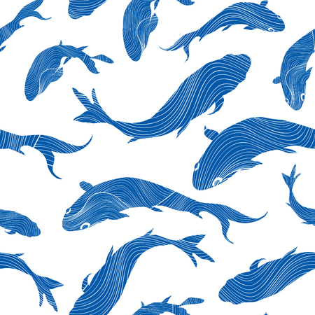 Marine life seamless texture. Fish background. Underwater pattern.