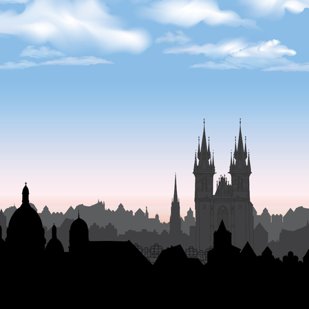 Old Town of Prague, Czech Republic. Cityscape in the old european city with tower on the background. Historic city street. Travel Prague bakcground. Illustration