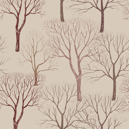 vintage background pattern: Autumn forest pattern. Fall leaves and trees seamless background. Vintage Christmas elements. Plant floral seamless pattern background. Editable vector texture. Illustration