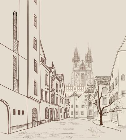 pareja comiendo: Ciudad Vieja de Praga, República Checa. Calle peatonal en la antigua ciudad europea con la torre en el fondo. Calle de la ciudad histórica. Viaja bakcground Praga.