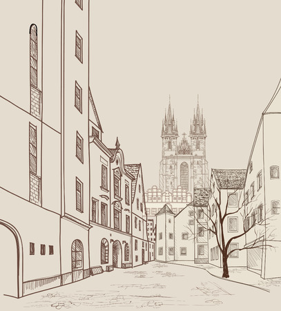 pencil drawn: Old Town of Prague, Czech Republic. Pedestrian street in the old european city with tower on the background. Historic city street. Travel Prague bakcground.