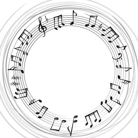 grunge music background: Music notes border. Musical background. Music style round shape frame with copy space for text. Treble clef and notes wallpaper.