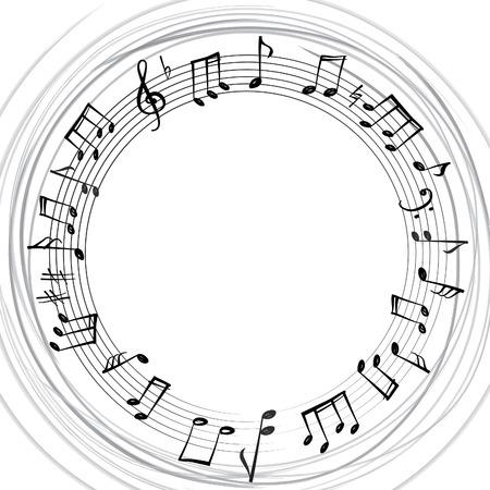 Notas de la música fronteriza. Fondo musical. Estilo de música marco de forma redonda, con copia espacio para el texto. Clef agudo y notas de fondo.