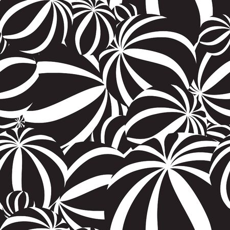 funky background: Abstract geometric striped balls seamless pattern. Circular texture for wallpaper, surface or cover. Fun funky background. Festive wallpaper in 1960s pop-art style