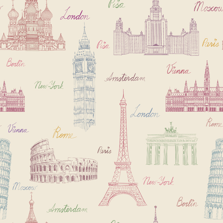 vacation map: Travel seamless pattern. Vacation in Europe wallpaper. Travel to visit famous places of Europe background. Landmark tiled grunge pattern.