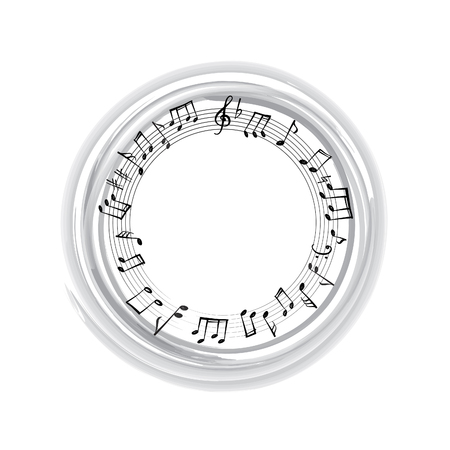 notation: Music notes border. Musical background. Music style round shape frame with copy space for text. Treble clef and notes wallpaper.