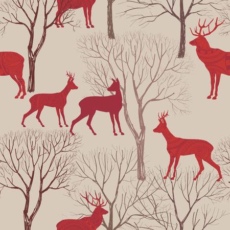 renna: Animali in pattern autunno foresta. Cadono le foglie e gli alberi sfondo trasparente. Elementi Deer Vintage Natale. Renne sfondo seamless. Modificabile texture vettoriale.