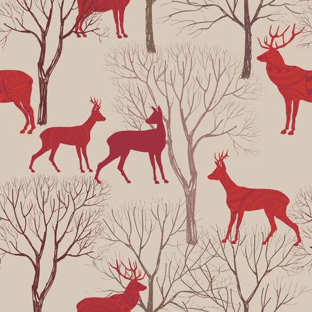 Animals in autumn forest pattern. Fall leaves and trees seamless background. Deer Vintage Christmas elements. Reindeer seamless pattern background. Editable vector texture. 向量圖像