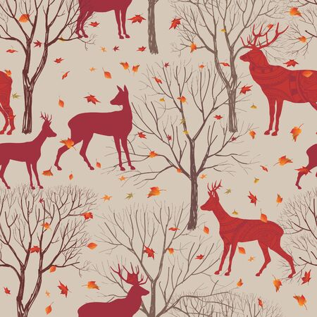 fall trees: Animals in autumn forest pattern. Fall leaves and trees seamless background. Deer Vintage Christmas elements. Reindeer seamless pattern background. Editable vector texture. Illustration