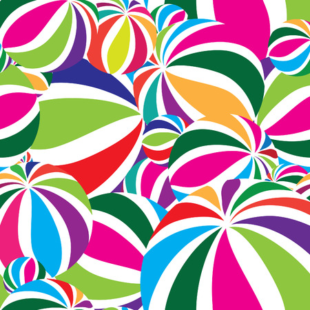 Abstract geometric striped balls seamless pattern. Circular texture for wallpaper, surface or cover. Fun funky background. Festive wallpaper
