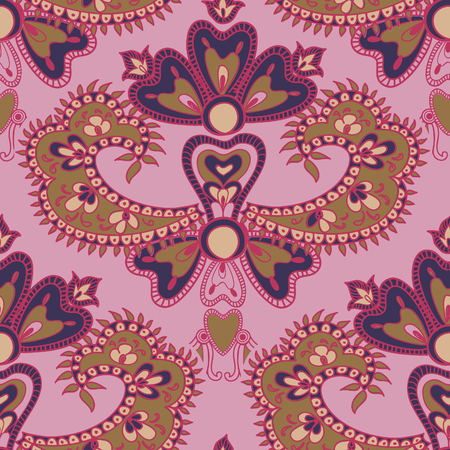 chinaware: Abstract floral seamless pattern. Geometric floral ornament texture. Oriental flower ethnic background. Illustration