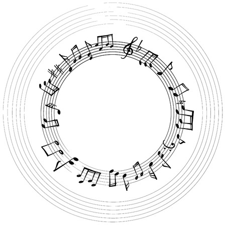 Music notes border. Musical background. Music style round shape frame with copy space for text. Treble clef and notes wallpaper.