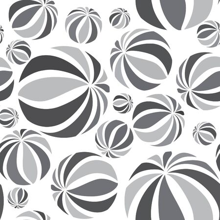 white wallpaper: Abstract geometric striped balls seamless pattern. Circular texture for wallpaper, surface or cover. Fun funky background. Black and white wallpaper Illustration
