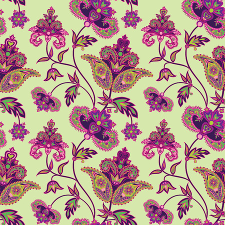 indian summer: Abstract floral ethnic pattern. Geometric floral ornament. Oriental seamless background. Flower seamless pattern with oriental ornament  in vintage style Illustration