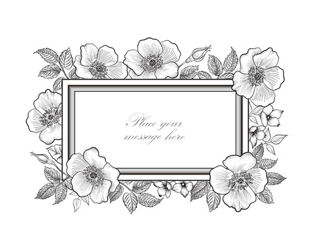 Floral background. Flower bouquet vintage cover. Flourish card with copy space. 向量圖像