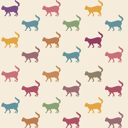 set going: Cat seamless pattern. Pets vector background.
