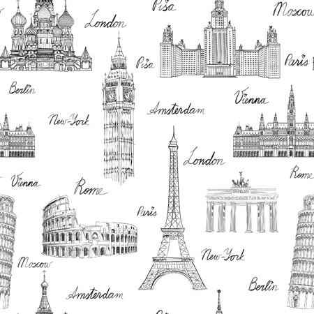 monument: Travel seamless pattern. Vacation in Europe wallpaper. Travel to visit famous places of Europe background. Landmark tiled grunge pattern.
