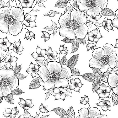rosas blancas: Modelo inconsútil floral. Resumen de antecedentes de la flor. Textura inconsútil floral con flores. Vectores