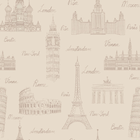 famous places: Travel seamless pattern. Vacation in Europe wallpaper. Travel to visit famous places of Europe background. Landmark tiled grunge pattern.