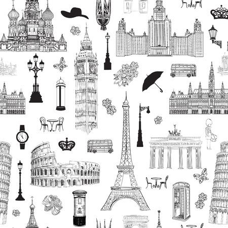 Reisen Sie nahtlose Muster. Urlaub in Europa Tapete. Reisen Sie berühmte Orte von Europe Hintergrund zu besuchen. Landmark gekachelt Grunge-Muster. Vektorgrafik
