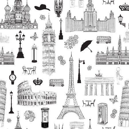 europe cities: Travel seamless pattern. Vacation in Europe wallpaper. Travel to visit famous places of Europe background. Landmark tiled grunge pattern.