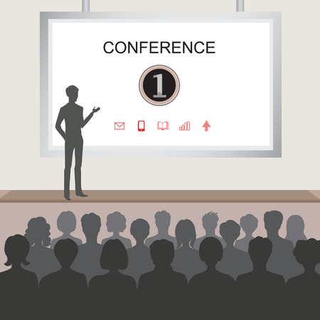 Conference room illustration. People at the conference hall. Business meeting template
