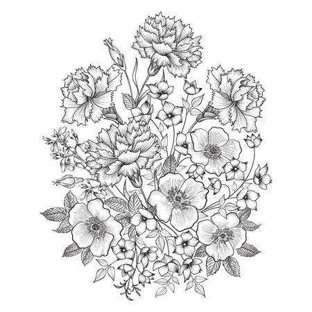 rosas blancas: Ramo de la flor. Marco floral. Flourish tarjeta de felicitación. Cubierta floral de la vendimia. Flourish tarjeta con copia espacio. Vectores