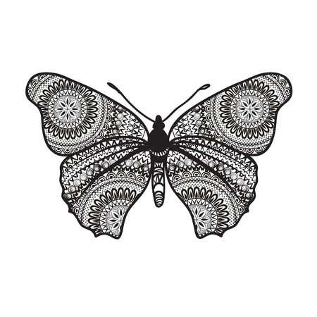 swill: Abstract butterfly with floral grunge texture. Butterfly isolated.