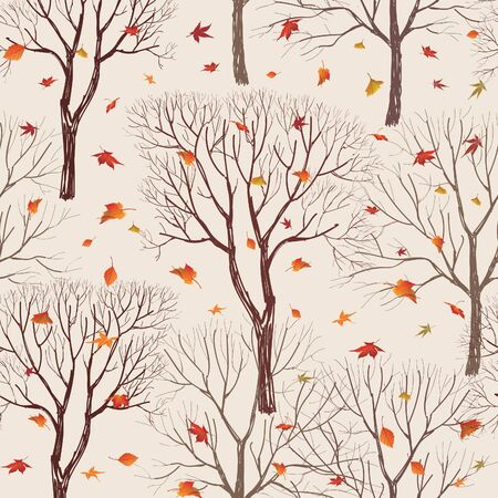 fall trees: Autumn forest pattern. Fall leaves and trees seamless background. Vintage Christmas elements. Plant floral seamless pattern background. Editable vector texture. Illustration