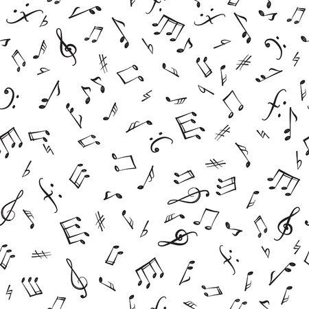 Music notes and elements seamless pattern. Musical tiling background. Music style textured wallpaper.