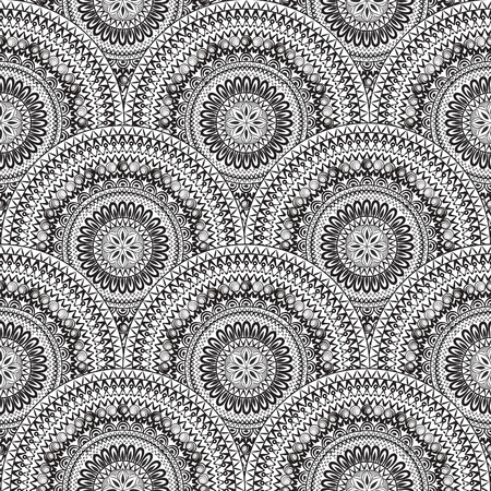 black circle: Abstract seamless pattern with circular ornament. Swirl geometric oriental texture. Black and white background. Illustration