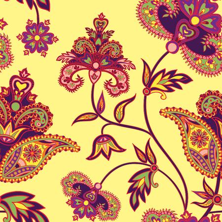 Floreren tild patroon. Bloemen retro achtergrond. Gebogen boomtak met fantastische bloemen, bladeren en bessen. Wonderland motieven van de schilderijen van de oude Indische stof patronen.