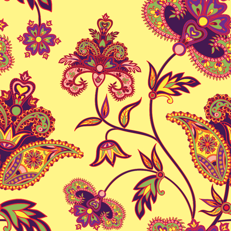 Flourish tild pattern. Floral retro background. Curved tree branch with fantastic flowers, leaves and berries. Wonderland motives of the paintings of ancient Indian fabric patterns.
