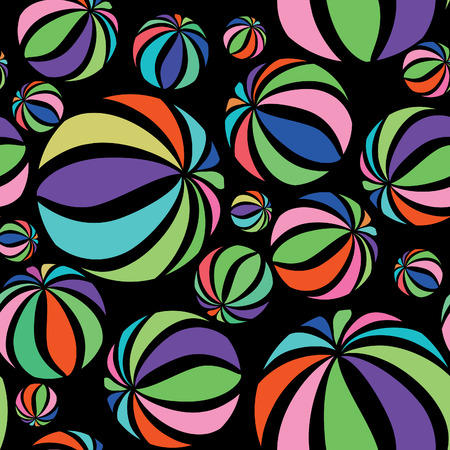 bands: Abstract geometric striped balls seamless pattern. Circular texture for wallpaper, surface or cover. Fun funky background. Festive wallpaper in 1960s pop-art style