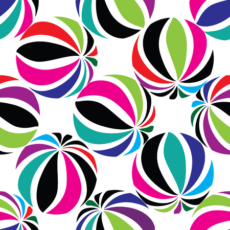 funky background: Abstract geometric striped balls seamless pattern. Circular texture for wallpaper, surface or cover. Fun funky background. Festive wallpaper in 1960s hippie style