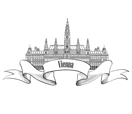 Austria visit card. Vienna city. Famous landmark Rathaus building isolated. Travel european capitals label set.